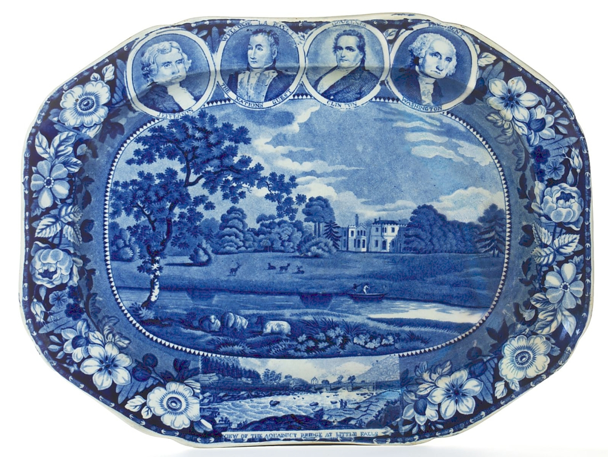 """Will Kimbrough said he was not surprised that this Staffordshire medallion portrait series transfer-printed platter brought the sale's top price of $18,720. """"We knew it was a good one. The unique combination of portraits and views may be unique and it's what drove the price."""" ($ ,000)."""