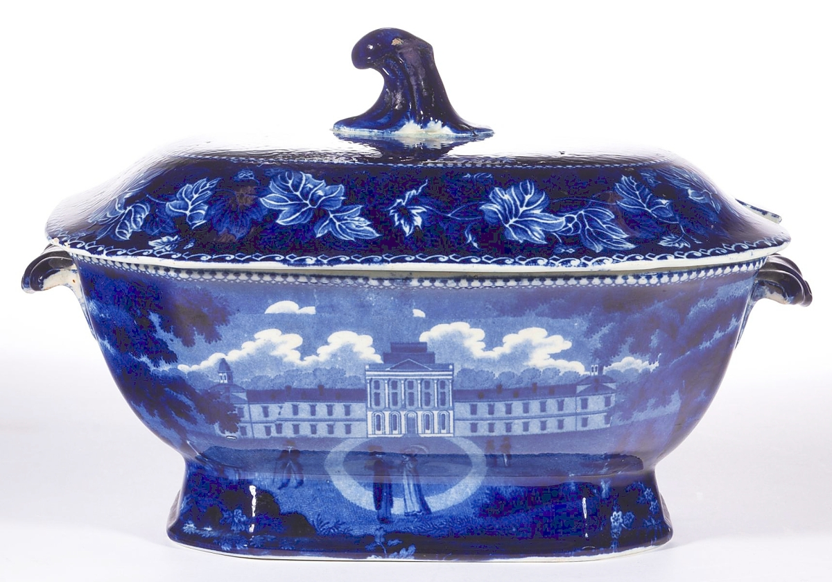 The distinctive form and three views helped drive the price of $11,115 realized for this covered tureen that depicted the Pennsylvania Hospital, the Brooklyn Ferry and the Battle of Bunker Hill. A private East Coast collector, bidding online, prevailed ($4/6,000).