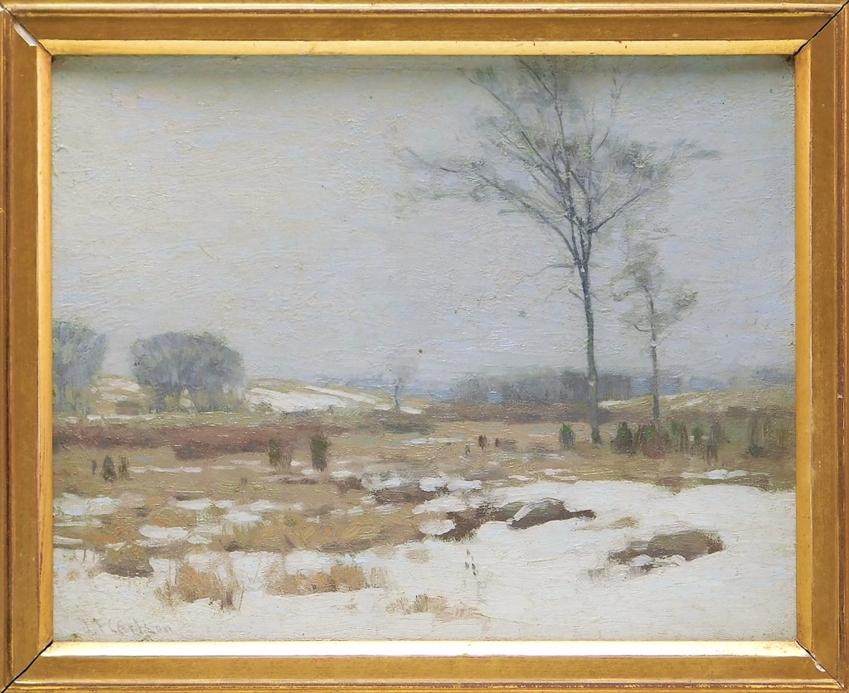 This winter landscape by John Fabian Carlson measured 15½ by 17¾ inches in the frame and may have appealed to bidders sweltering in summer heat. A private collector in Ohio beat out competition on the phone to win it for $8,125 ($ ,000).