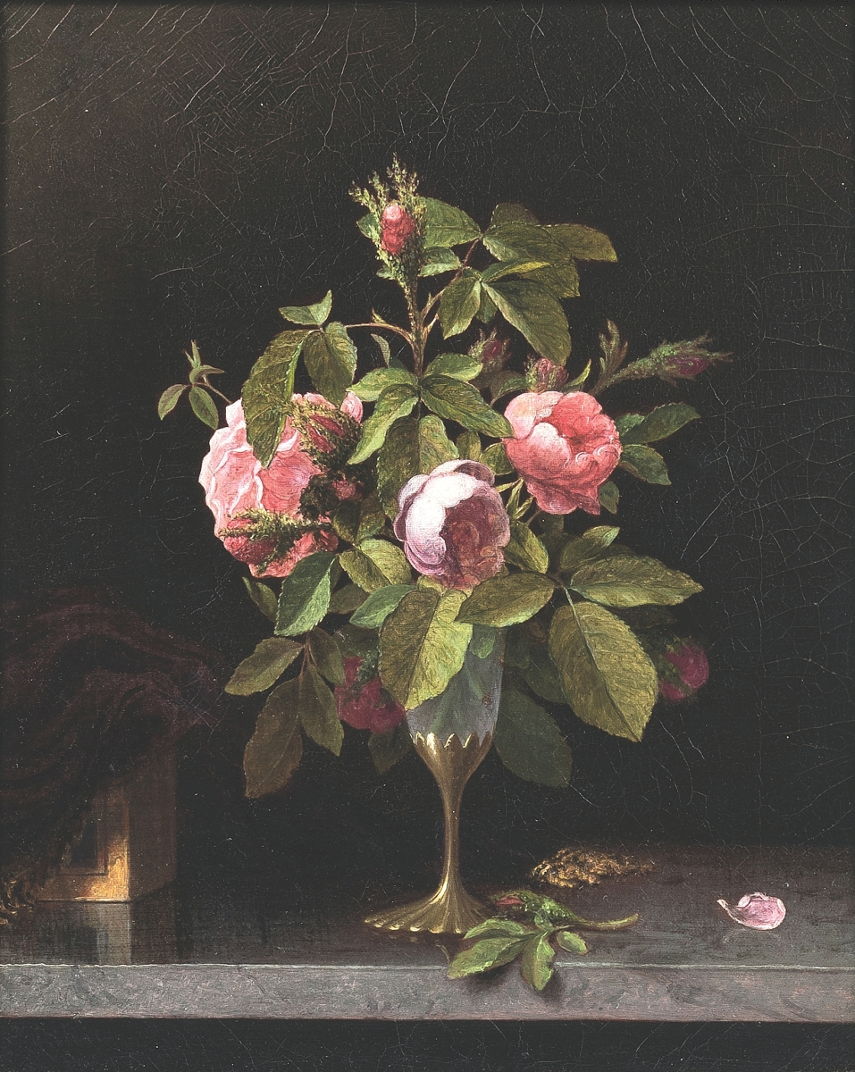 """""""It was a wonderful, little jewel of a thing,"""" Robin Starr said of """"Pink Roses in a Fragile Vase"""" by Martin Johnson Heade, which sold for $40,625, the second highest price in the sale. It measured 19½ by 16½ inches in the frame and was bought by a private collector ($25/35,000)."""
