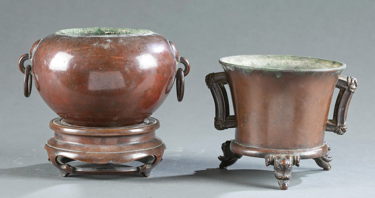 These two bronze vessels were discovered to be Ming dynasty, Fifteenth or Sixteenth Century, and saw competition from no fewer than nine phone bidders and online competition. They sold to a Chinese buyer in Spain who was bidding on the phone, for $203,200. It was the highest price achieved during the sale ($200/300).