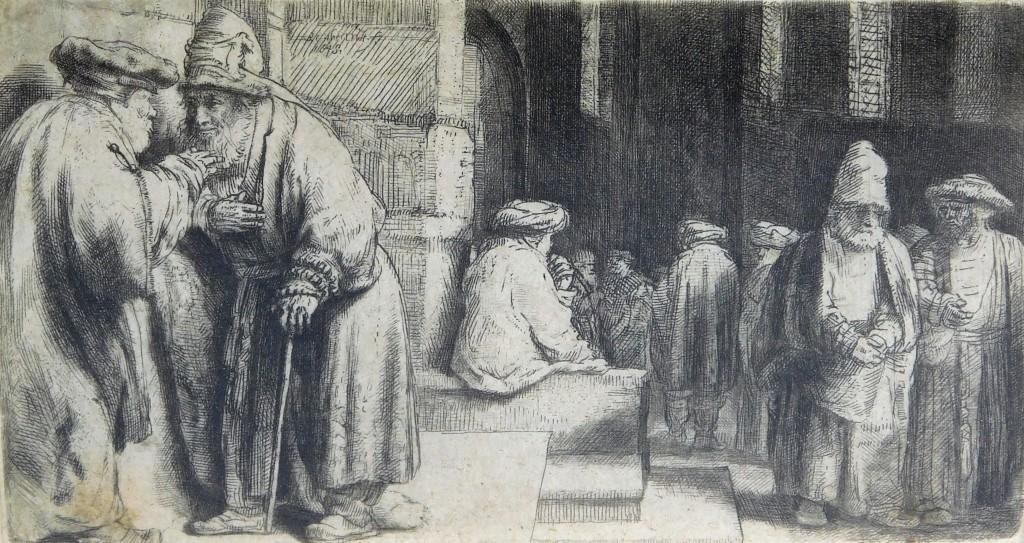 """Lot 53 – Rembrandt Harmenz Van Rijn, """"Jews in Synagogue"""" Est. $9,000-12,000"""