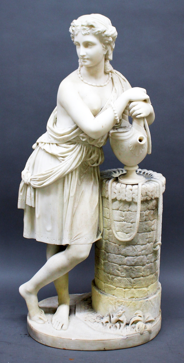 The top lot for the weekend came not from one of the large estates but from an unassuming local house. This 40½-inch-tall carved white marble figure of a woman at a well brought $10,640 after a battle between two phone bidders.
