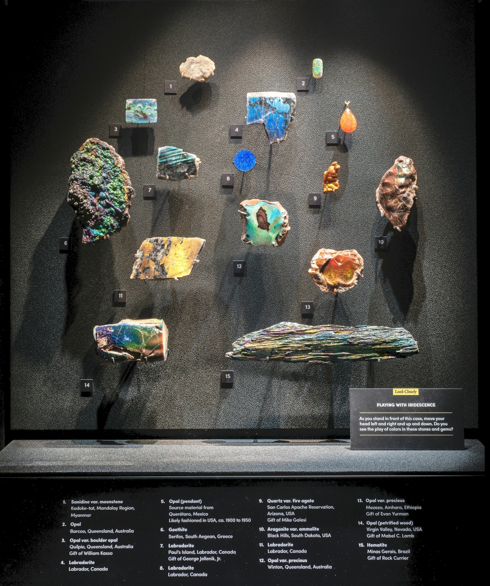 This case highlighting iridescent specimens is part of the Minerals & Light room, which explores the optical properties of minerals and their interaction with light. D. Finnin/©AMNH.