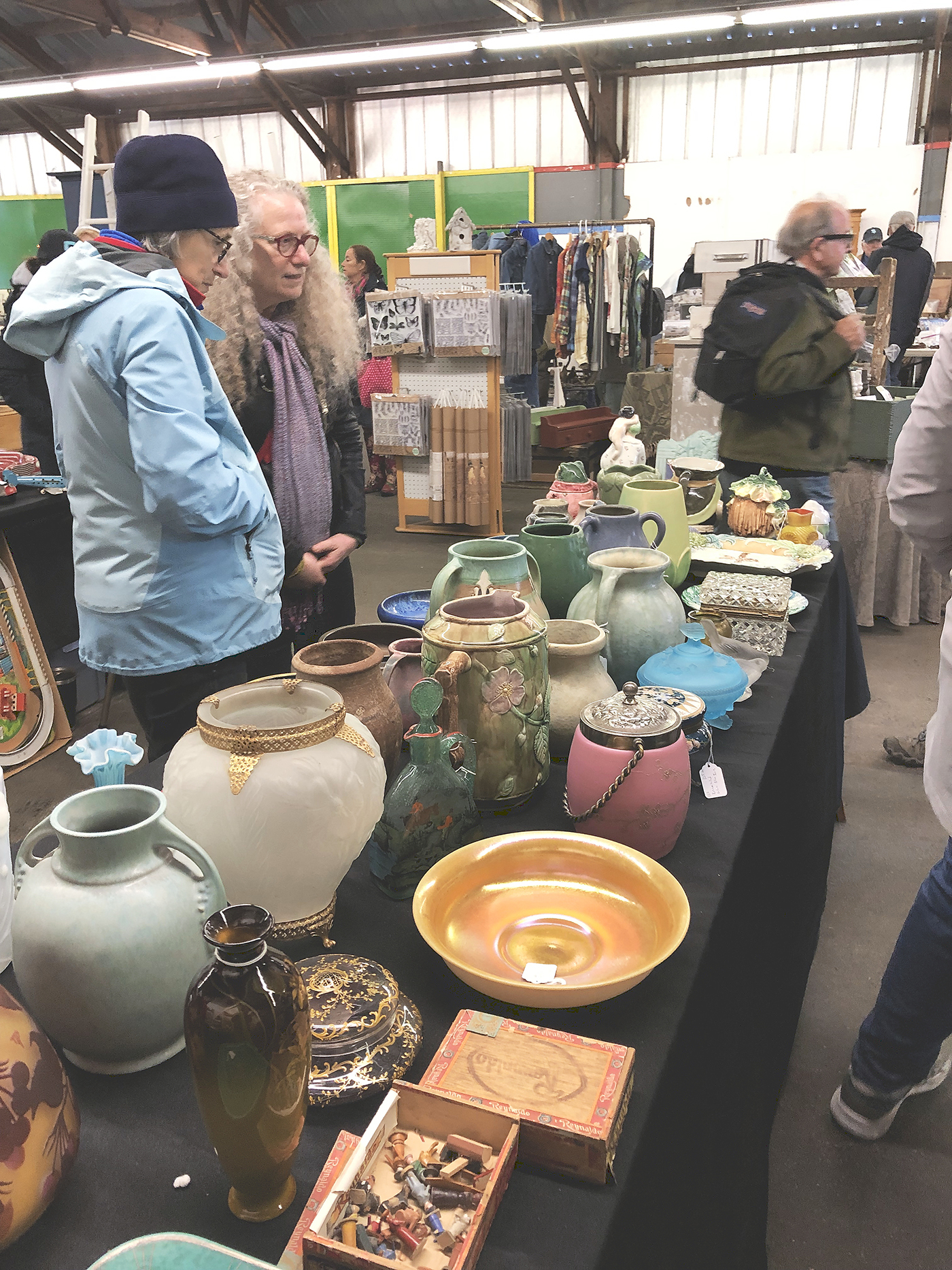 Art pottery, including Hampshire, Roseville and more, was offered by Ted Trembly, Milton, N.H., and several other dealers.