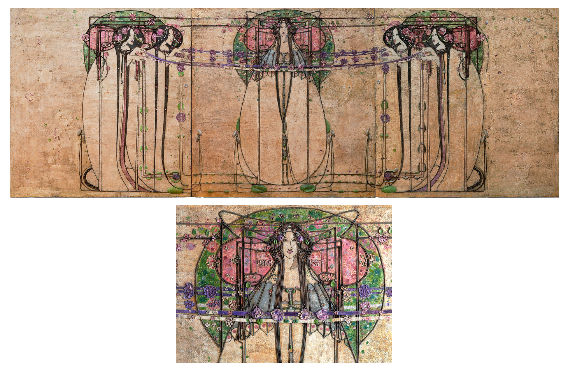 """""""The May Queen"""" by Margaret Macdonald Mackintosh, panel from the Ladies' Luncheon Room, Ingram Street Tea Rooms, 1900. Gesso, hessian, scrim, twine, glass beads, thread, mother-ofpearl and tin leaf. Glasgow Museums, acquired by Glasgow Corporation, as part of the Ingram Street Tearooms, 1950. © CSG CIC Glasgow Museums Collection. Courtesy American Federation of Arts."""