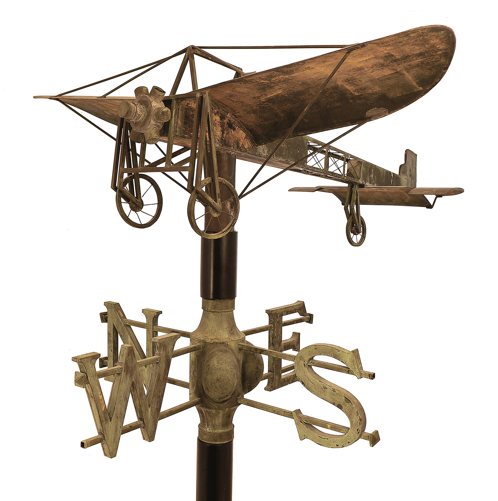 """""""The Blériot XI Monoplane,"""" from the Poland Spring House, Poland Spring, Me., circa 1909-14. Copper, 10 by 57¼ by 55 inches. Collection of Michael and Patricia Del Castello, photo Michael Lynberg."""