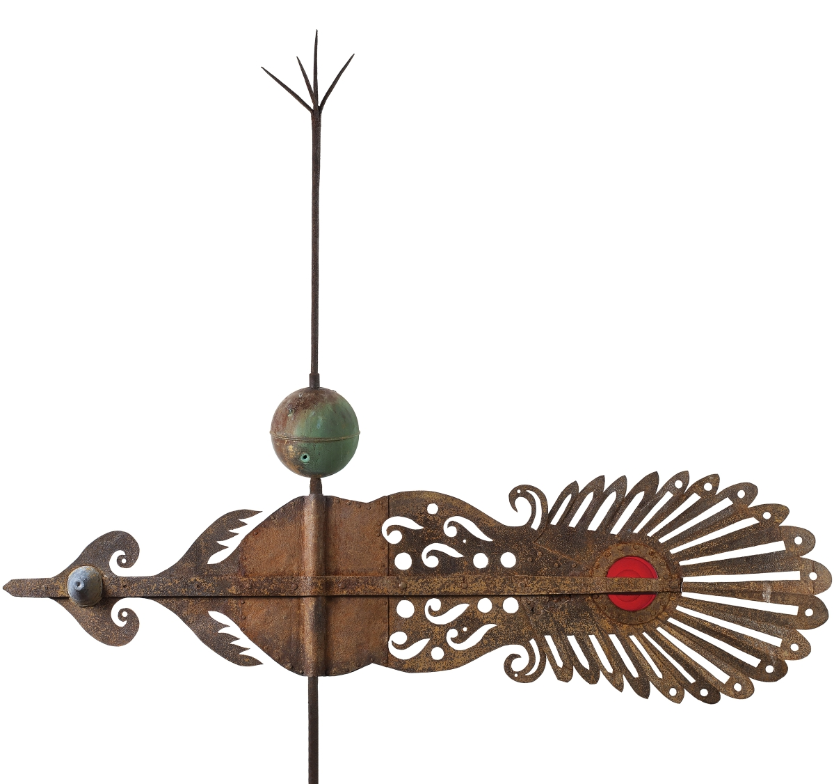 Church banner by unidentified artist, Orono, Maine, circa 1840. Sheet iron, lead, copper and blown glass with remnants of an early gilded surface, 61 by 74¼ inches. Private collection; photo Ellen McDermott, courtesy Olde Hope Antiques, Inc.