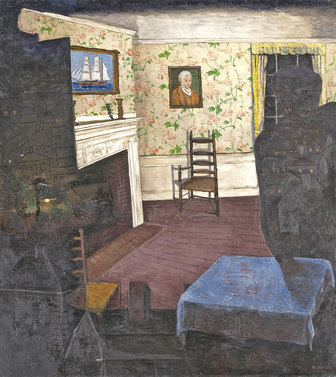 """""""Haunted House"""" by Morris Kantor (American, 1896-1974), 1930. Oil on canvas. Mr and Mrs Frank G. Logan Purchase Prize Fund. The Art Institute of Chicago. Photo The Art Institute of Chicago/Art Resource, NY. ©Estate of Morris Kantor."""