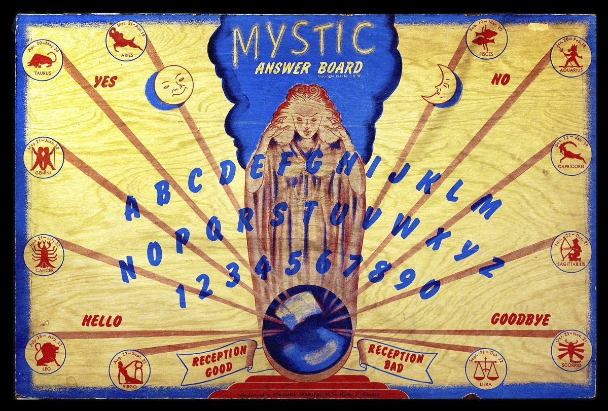 Mystic Answer Board from Columbia Industries, circa 1940s. Wood, pigments. Collection of Brandon Hodge. Photo Brandon Hodge/MysteriousPlanchette.com.