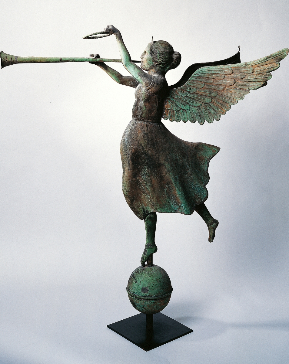 """""""Fame,"""" attributed to E.G. Washburne & Co., New York, circa 1890. Molded copper and cast zinc with traces of gold leaf, 39 by 35¾ by 23½ inches. American Folk Art Museum, gift of Ralph Esmerian, photo Gavin Ashworth."""
