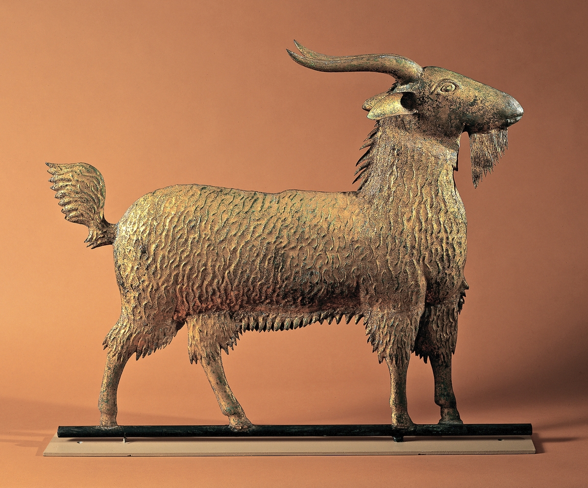 Goat, Northeastern United States, circa 1880. Molded and sheet copper with yellow sizing and gold leaf, 25 by 31 inches; depth of horns, 4 inches. Collection of Julie and the late Carl M. Lindberg; photo Gavin Ashworth, courtesy Allan Katz Americana, Madison, Conn.