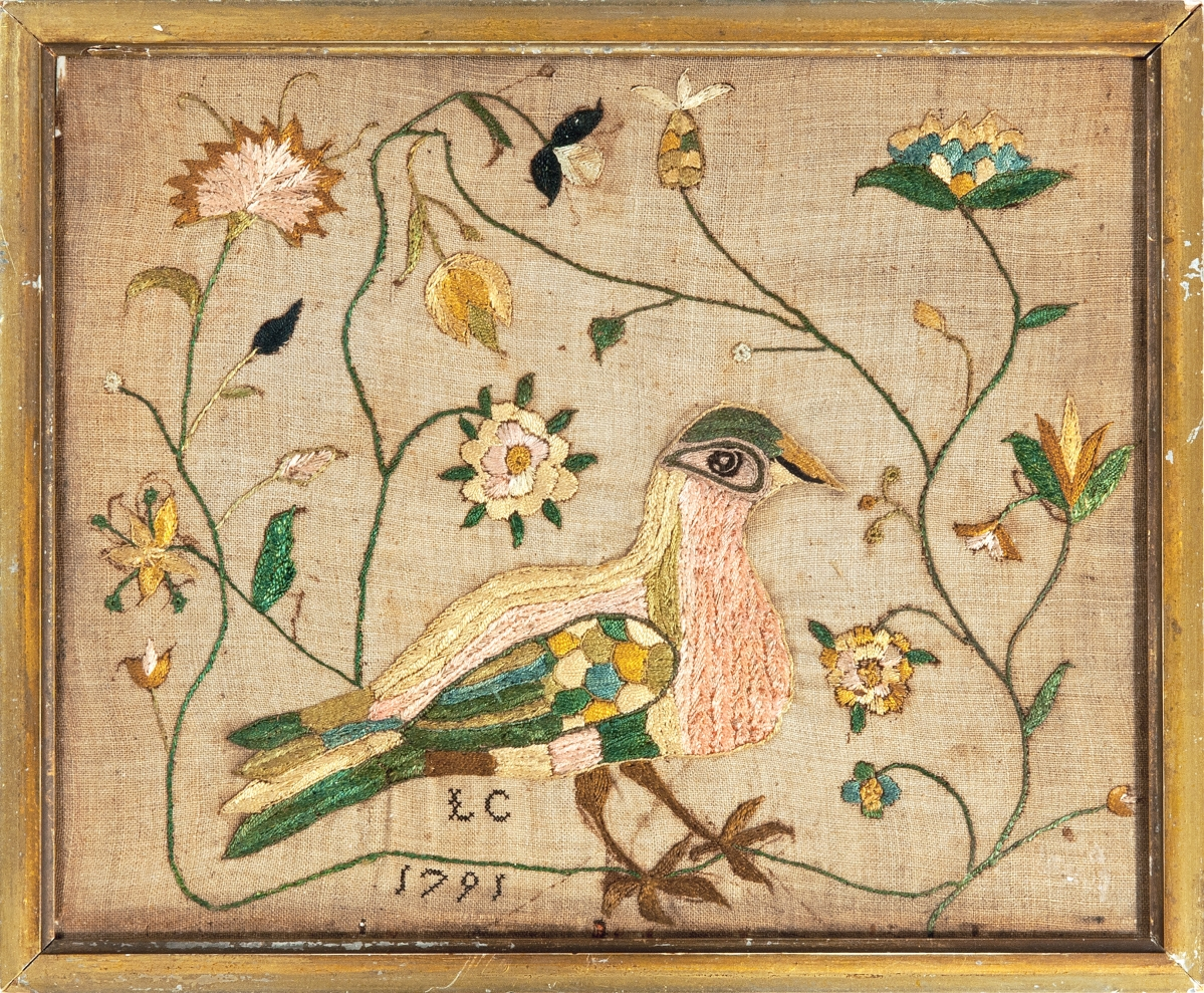 Old Saybrook, Conn., needlework dealers Stephen and Carol Huber were offering this needlework picture worked by LC in 1791 in Philadelphia. Carol said it resembles the work of Mary Flower, whose needlework and sketch book are in the collection of Winterthur Museum.
