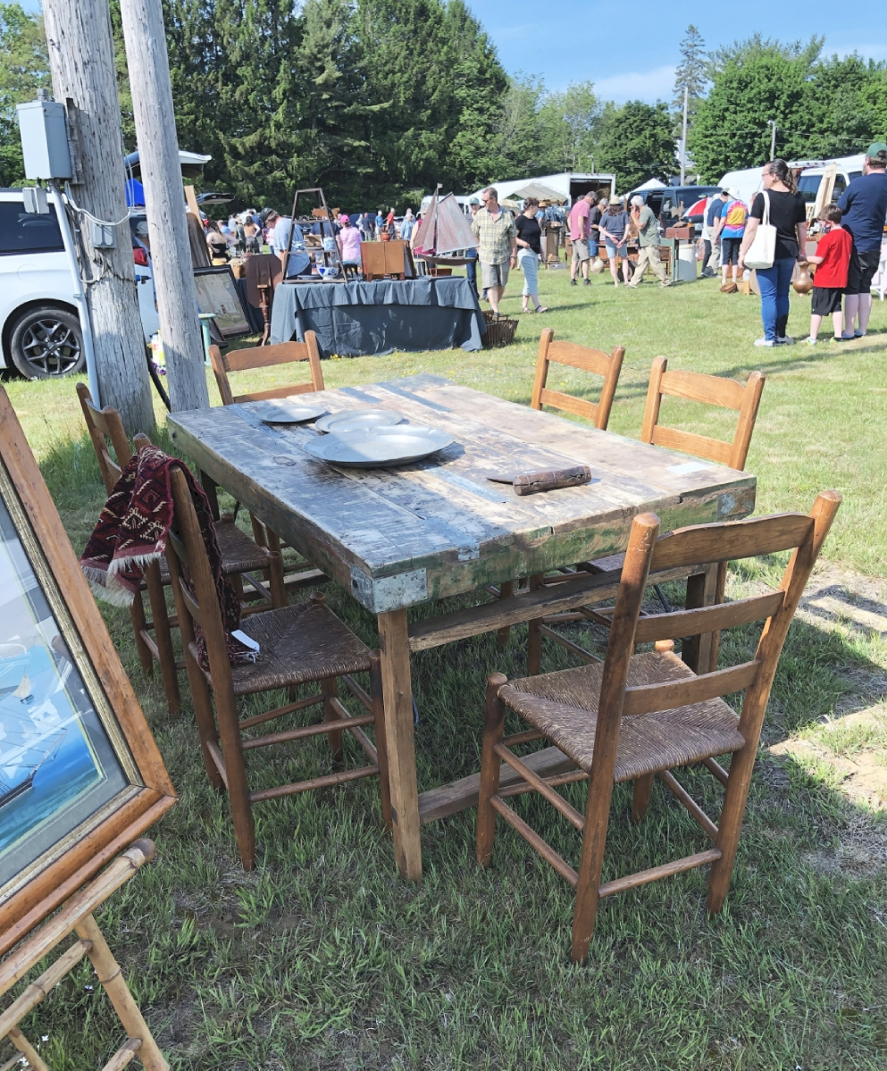 Bob Foley, Gray, Maine, had several of these wooden tables, which he said were from India where they served at weddings. This was the largest and was priced $575. Smaller ones started at $200. One customer, who Foley said he had never done business with before, bought five.