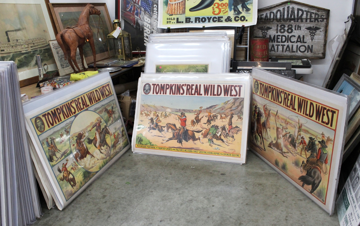 Bob Veder, owner of Class Menagerie, Bolton Landing, N.Y., said he has had much success of late with sales of Wild West posters, specifically the Tompkins Real Wild West series.