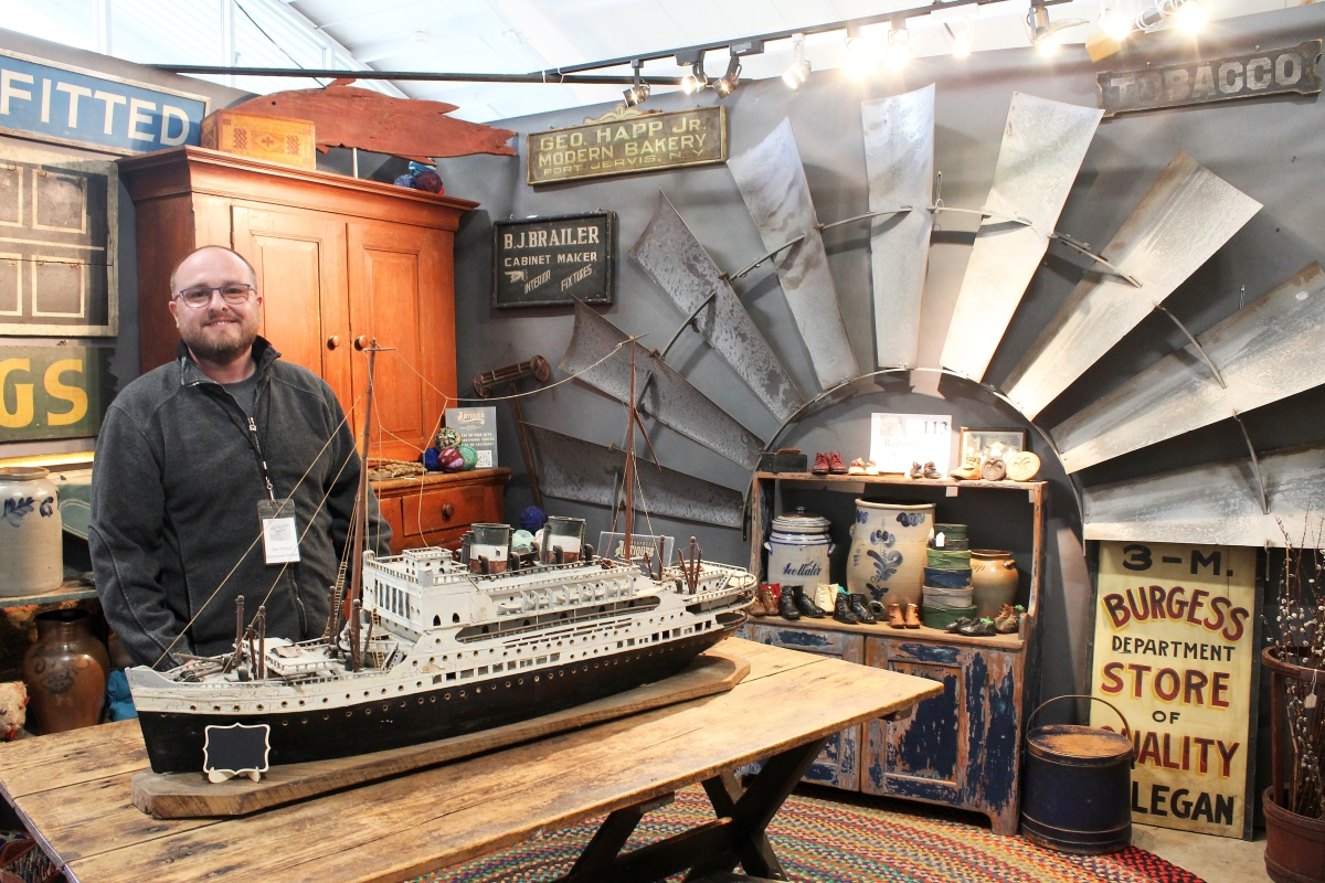 """Dan Meixell of Repurposed Antiques, Oxford, Penn., was doing his first Rhinebeck show. """"The show was fun. Sales were strong, the gate was amazing both days,"""" he said. """"I was impressed with adherence of all Covid policies, the number of people, the number of pictures and videos taken and ultimately sales."""""""
