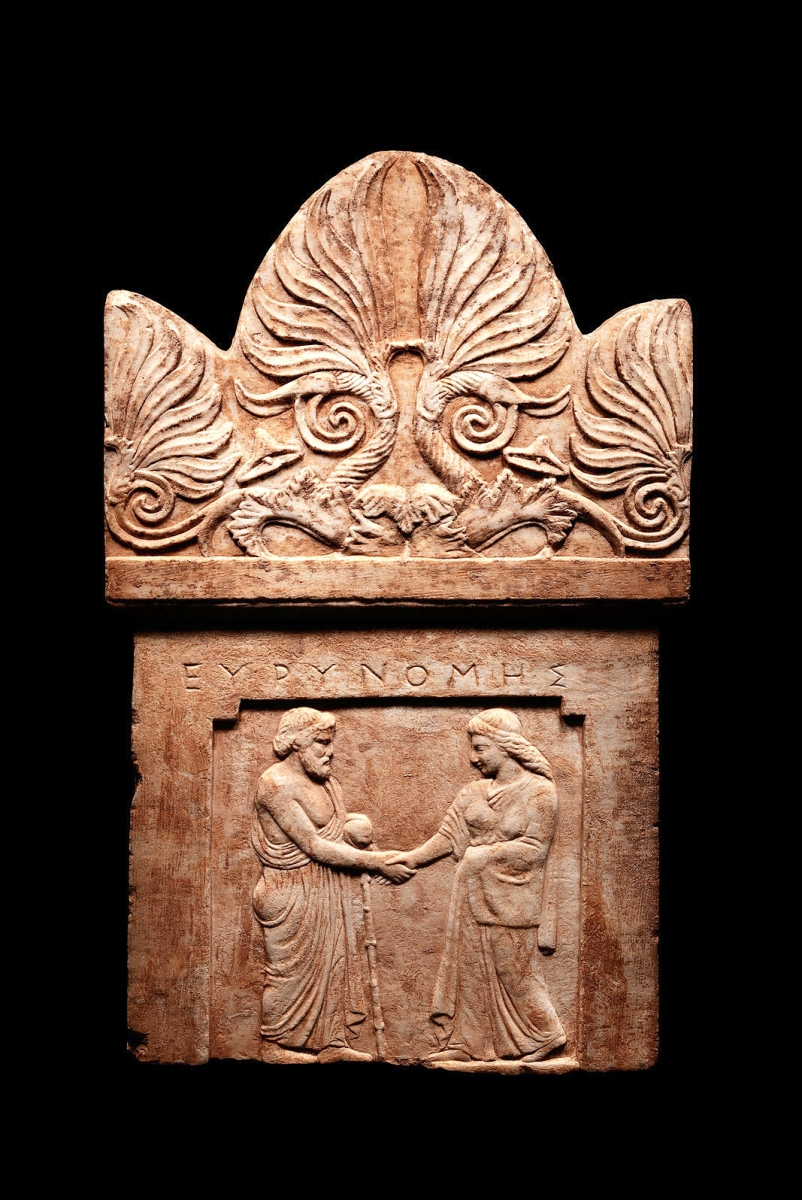 A marble funerary stele with elaborate carving featuring Eurynome brought $56,250. Fourth Century BCE.