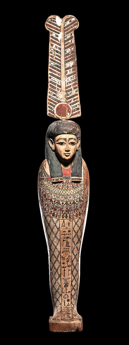 The late Nineteenth Century English Egyptologist, E. Towry White, was listed on the provenance of this painted wood figure of the Egyptian god Ptah-Sokar-Osiris, 19½ inches tall, that sold for $37,500.