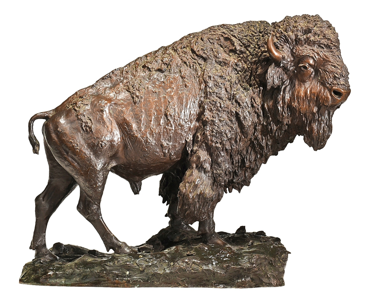 """Henry Merwin Shrady's (New York, 1871-1922) """"Buffalo"""" charged to the head of the sale and sold to a phone bidder after competition from other phones and a determined online bidder. It realized $196,800, a price Andrew Brunk said was a strong result he was very pleased with ($80/120,000)."""