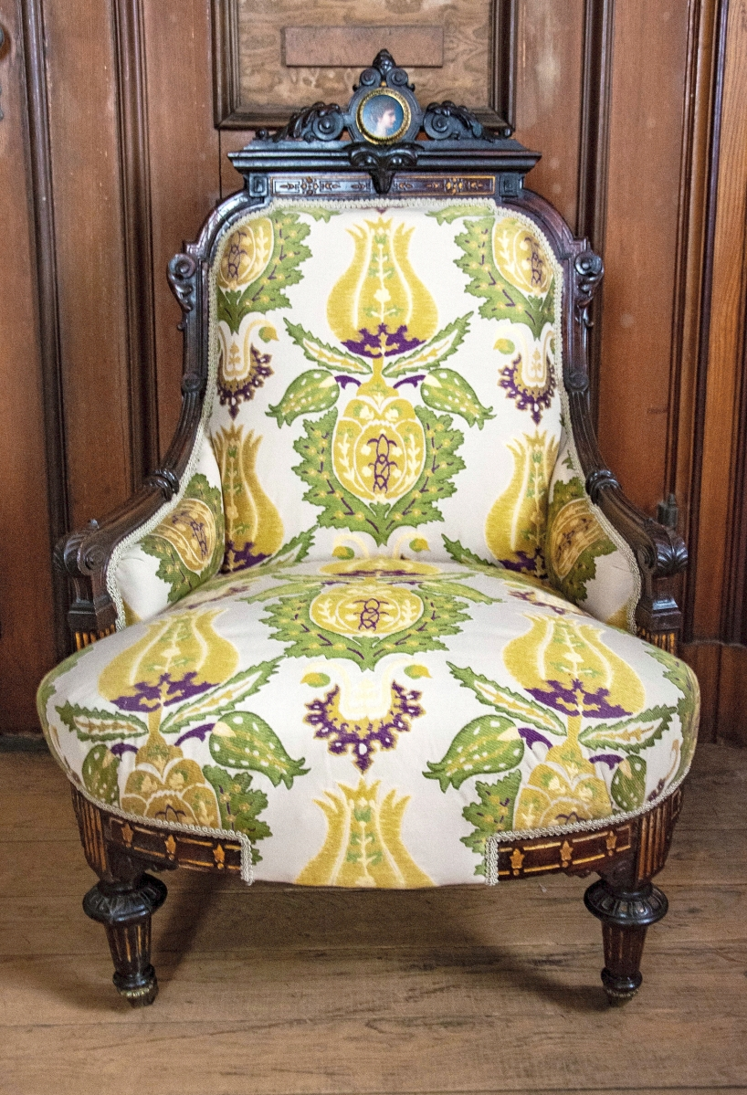 Herter Brothers rosewood parlor chair, with gilt bronze, circa 1870s, gift of Joe Weissinger, photo courtesy of Sarah Grote Photography.