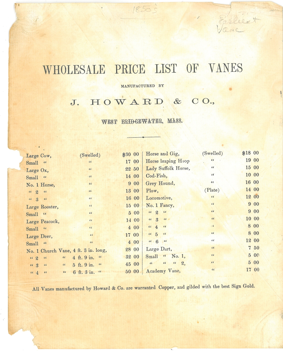 Wholesale price list of vanes, J. Howard & Co., West Bridgewater, Mass., circa 1856. Unframed, 11 by 8½ inches. Collection of Stewart Stender and Deborah Davenport.