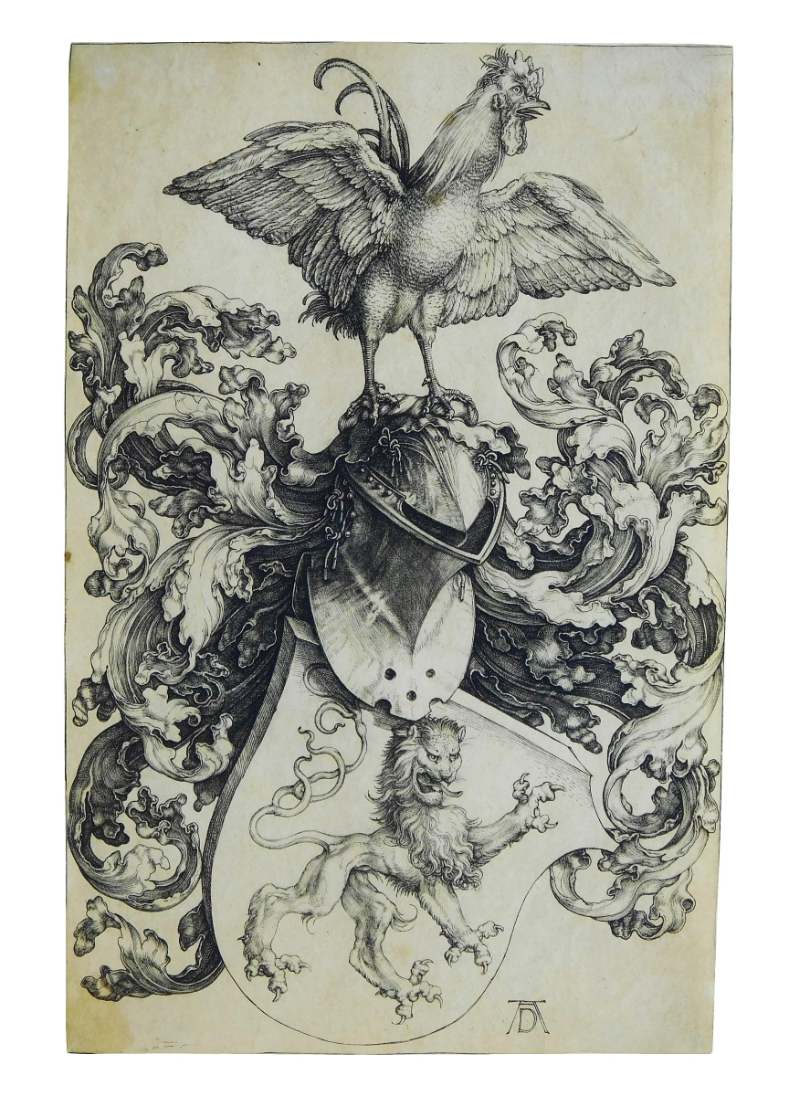 The sale was led at $14,760 by Albrecht Dürer's (1471-1528) circa 1500-03 etching of a cock and lion coat of arms.