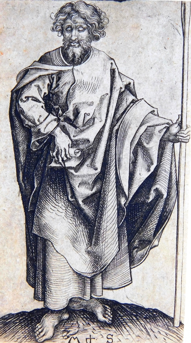 Purportedly once in the famed collection of Antonie Brentano-Birckenstock, this engraving of St Thomas by Martin Schongauer (1435-1491) sold for $9,840.