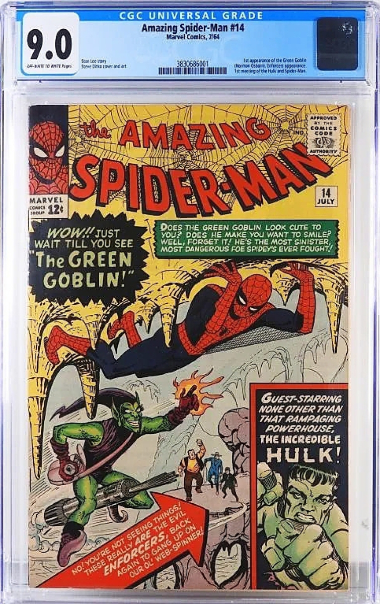 """""""That's tough to get,"""" Landry said. """"To get a 9.0 on a 1964 book like that is not easy."""" This copy of the Amazing Spider-Man #14 was recently graded in the upper echelons of the census. Only 83 books are recorded in this grade with only 108 higher. It sold for $16,800."""