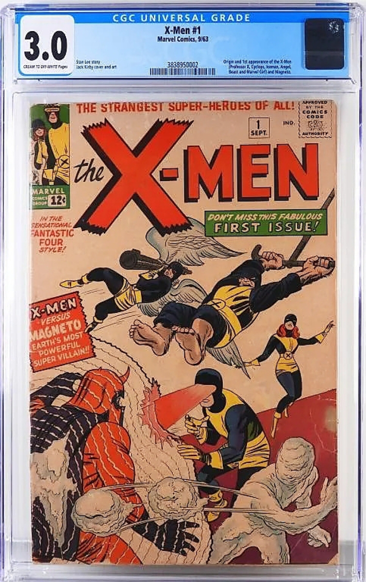 A copy of X-Men #1 graded 3.0 sold for $12,600. This 1963 book features the origin and first appearance of the X-Men and Magneto.