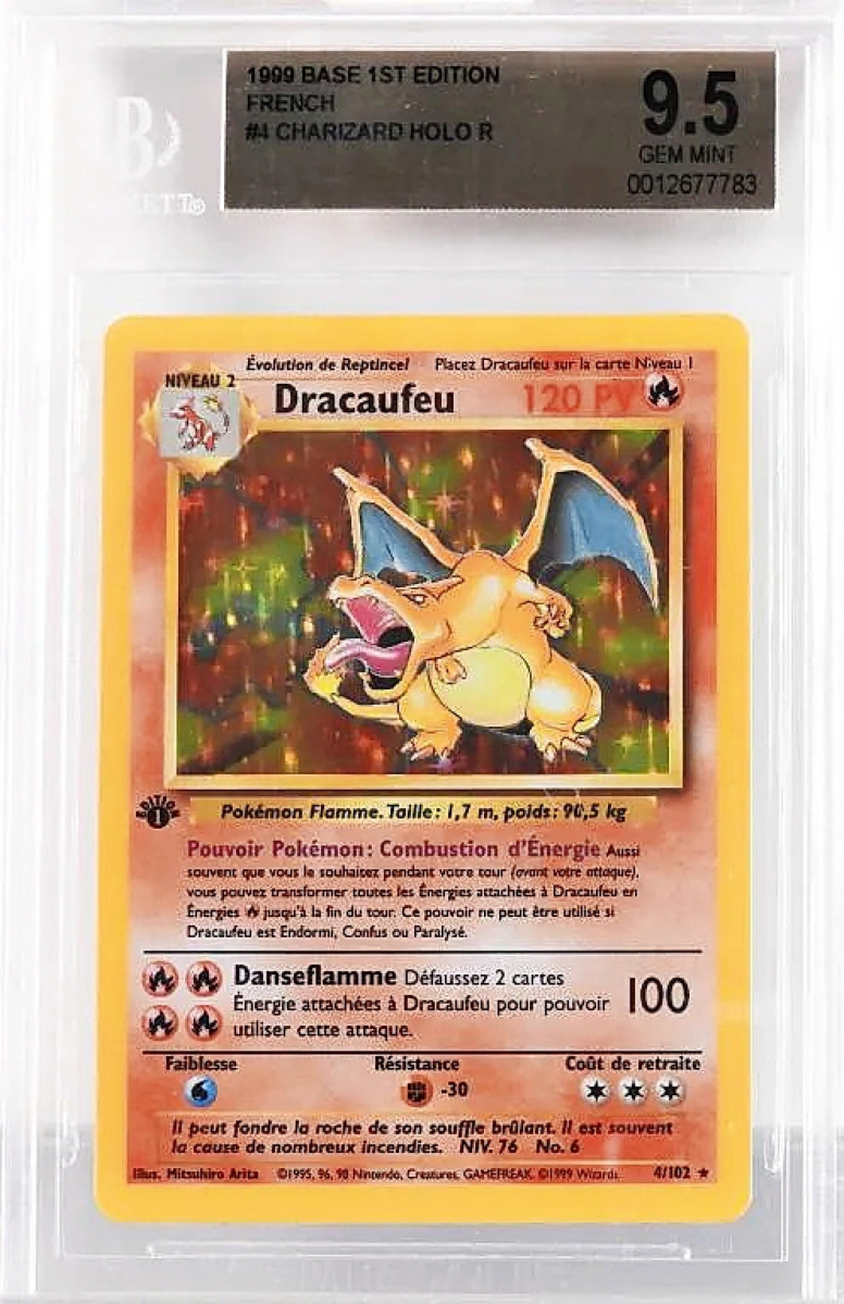 A Charizard Pokémon Base First Edition in French, graded BGS 9.5, would take the highest of any individual card at $9,600.