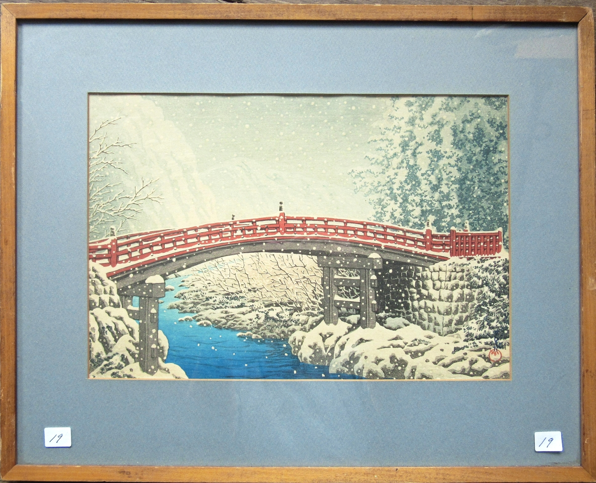 """""""Snow of Shinkyo,"""" a Japanese woodblock print by Kawase Hasui Kawase (1883-1957), recognized toward the end of his life by the Japanese government as a Living National Treasure for his contribution to Japanese culture, sold for more than ten times its high estimate, finishing at $2,508."""