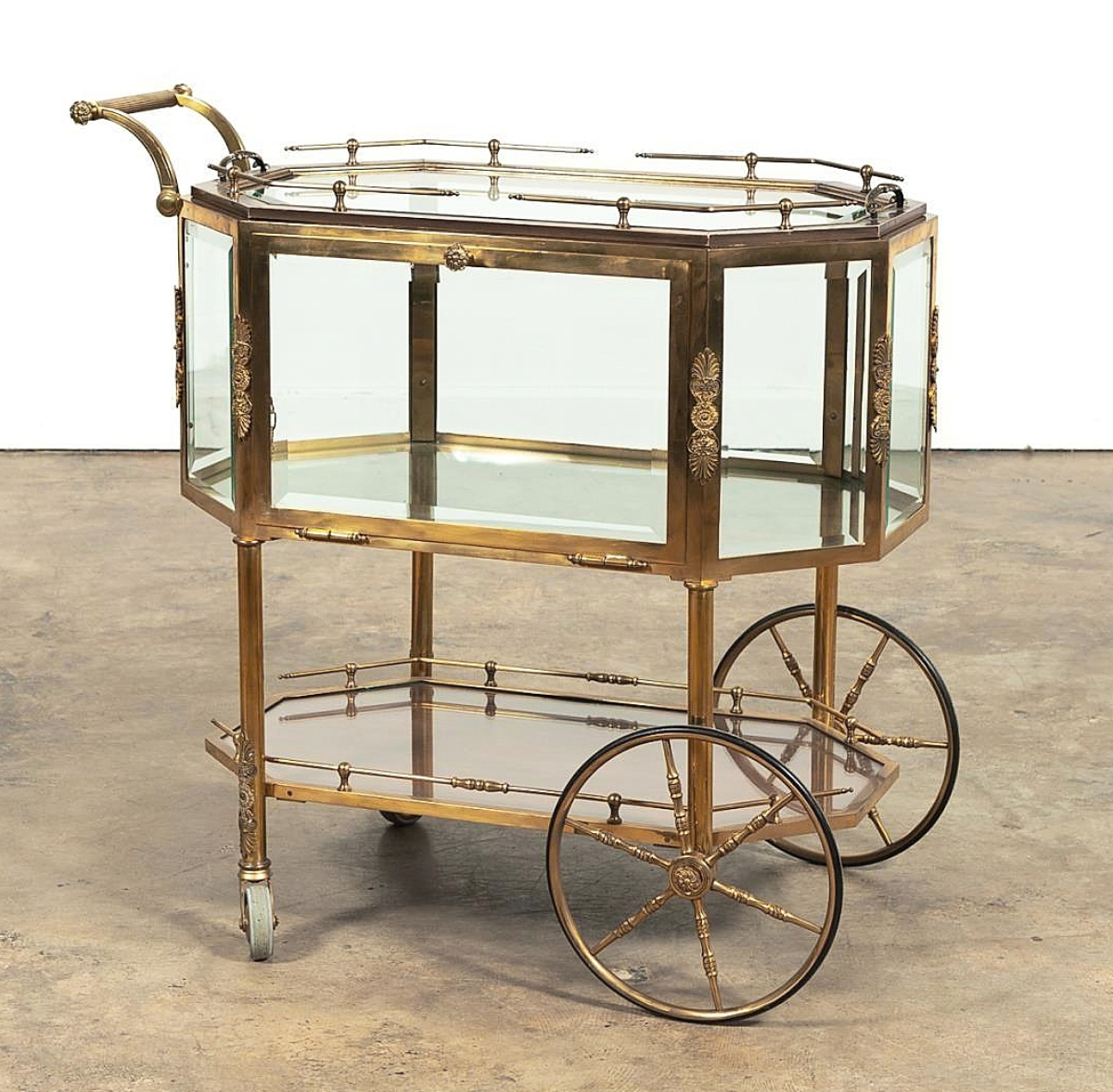"""""""I love bar carts and that was so much fun,"""" Elizabeth Rickenbaker said, referencing this Italian Midcentury Modern gilt-brass and glass drink and dessert trolley that rolled out the door to a California buyer for $9,375 ($400/600)."""