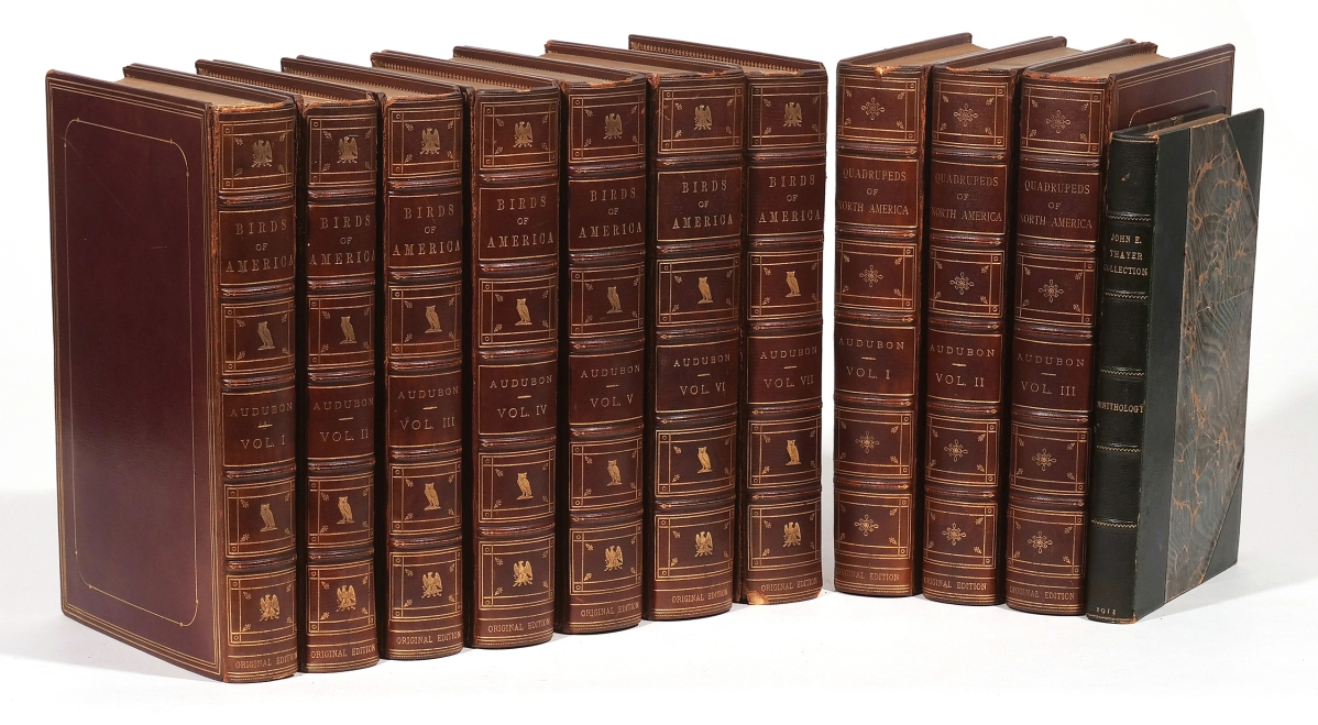 The top lot of the sale was a Royal Octavo edition of John James Audubon's The Birds of America and The Quadrupeds of North America, New York and Philadelphia, 1840-44 and 1849-54, uniformly bound as one 10-volume set. Estimated $28/36,000, the set went out at $53,680.