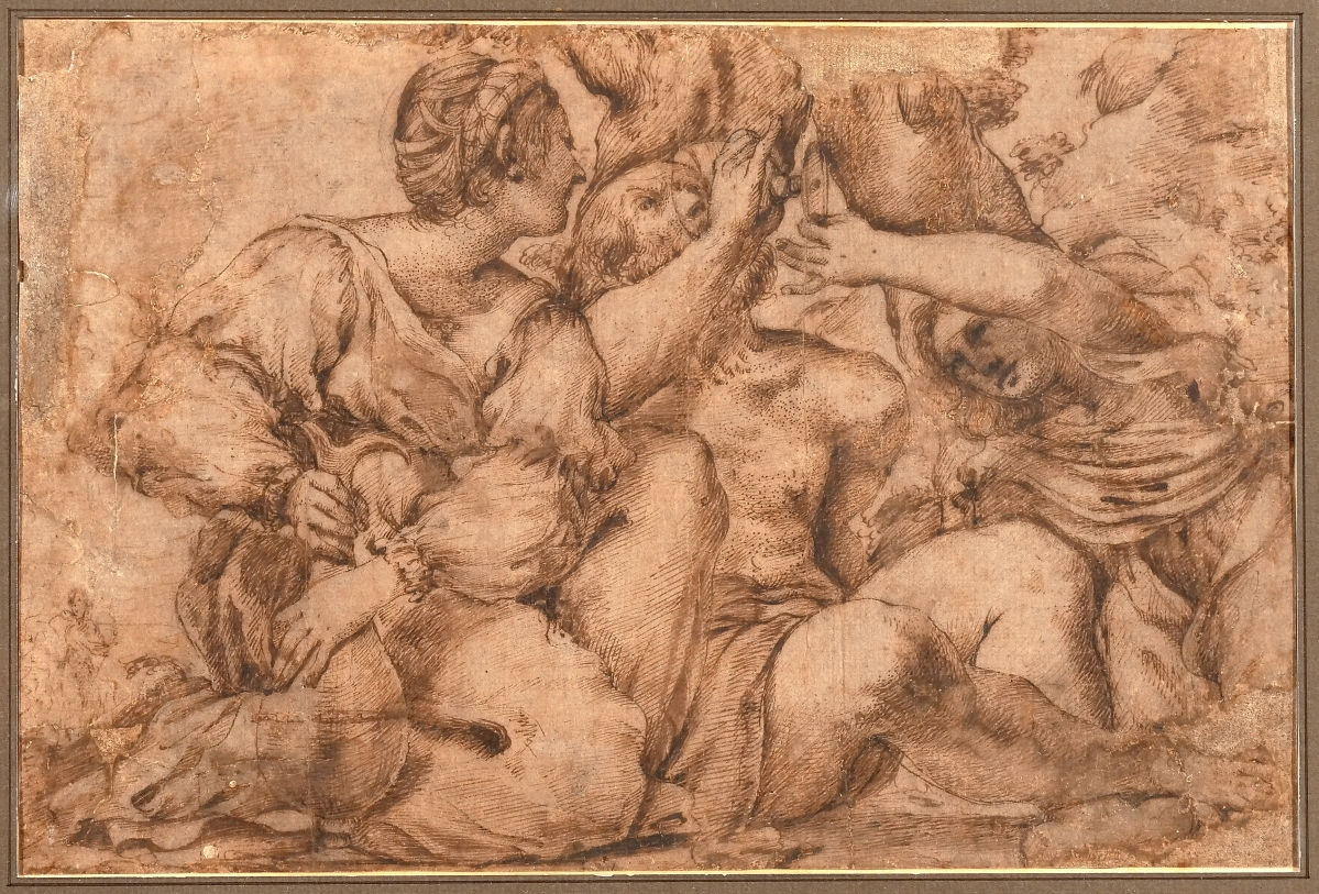 """An Old Master drawing, """"Bacchus and two females,"""" pen and ink on paper, soared to $43,920 from a $1/1,500 presale estimate. From a private Purchase, N.Y., collection the drawing was 14¼ by 18 inches overall."""