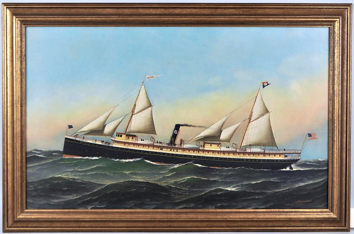 """Of the two paintings by Jacobsen in the sale, his """"Steamship Olivette"""" crossed the block first and finished at $20,740. Most of the phone bidders who competed for Jacobsen's Fred B. Dalzell also pursued the Olivette, but a different bidder prevailed ($4/6,000)."""