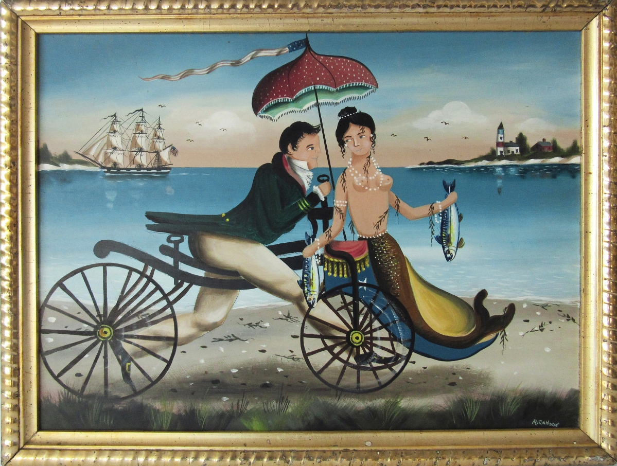 Top lot in the sale was a Ralph Cahoon oil on board view of a sailor and mermaid on a velocipede, which sold to a Rhode Island private collector for $20,060. It measured 12 by 16 inches and was signed lower right.