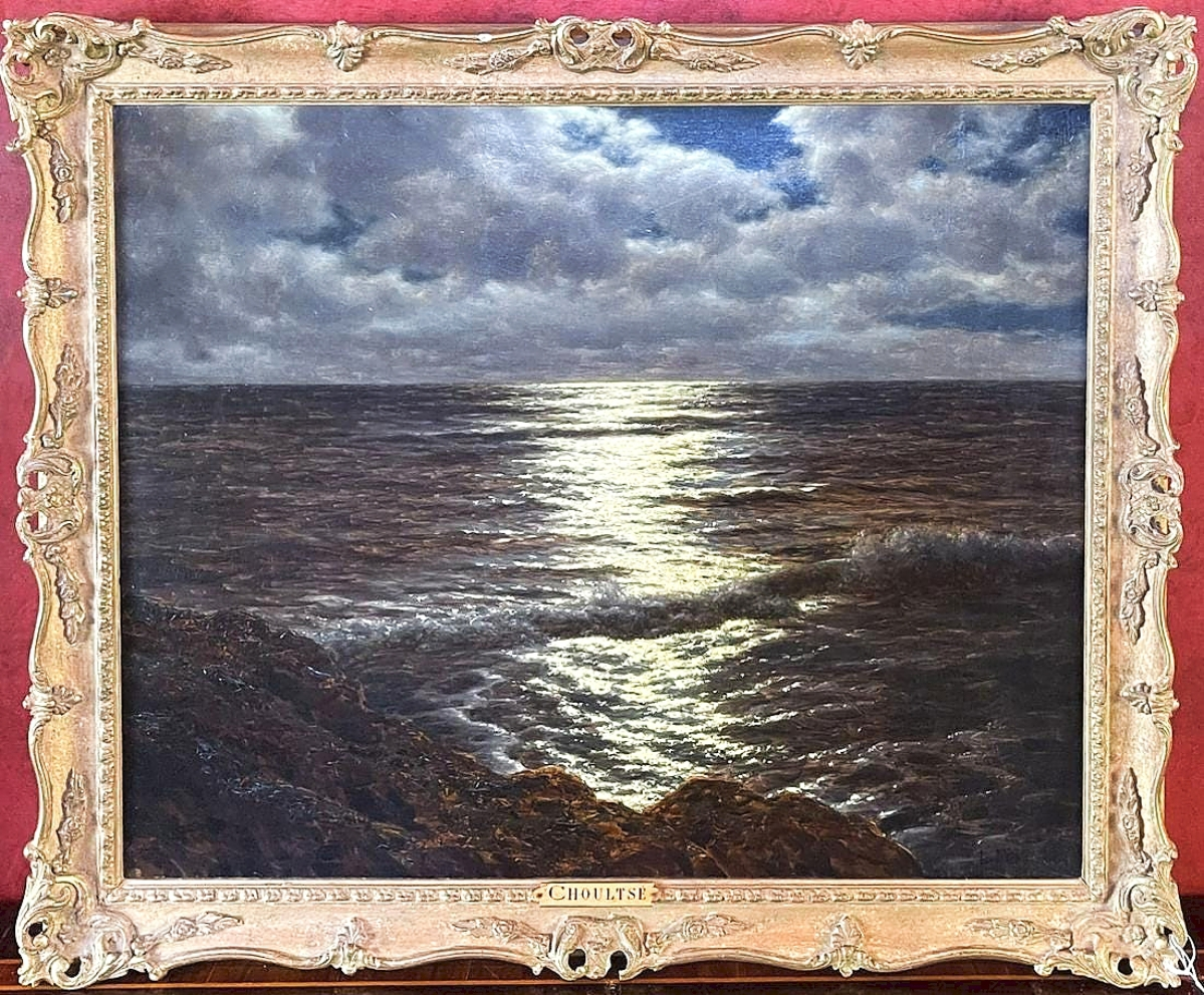 """Selling for more than twice its high estimate, this tranquil but moody oil on canvas painting by Ivan Fedorovich Choultse (Russian, 1874-1939) titled """"Moonlit Seascape,"""" 22 by 26 inches and in a gilt frame was bid to $36,250."""