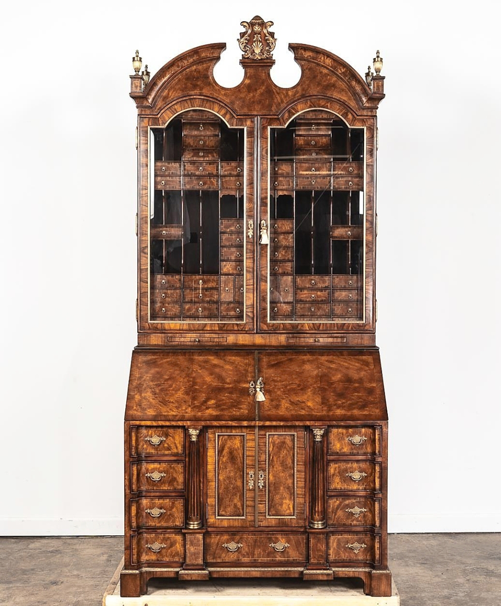 """""""We do very well with contemporary high-quality decorative furniture and that was a very good result,"""" Elizabeth Rickenbaker said. This regal Georgian-style mahogany veneered desk and bookcase replicated one belonging to the Spencer family in England, at their Althorp estate. Made by Theodore Alexander, it boasted 100 drawers and sold to a local bidder, buying online, for $11,875, the top price in the sale ($5/7,000)."""