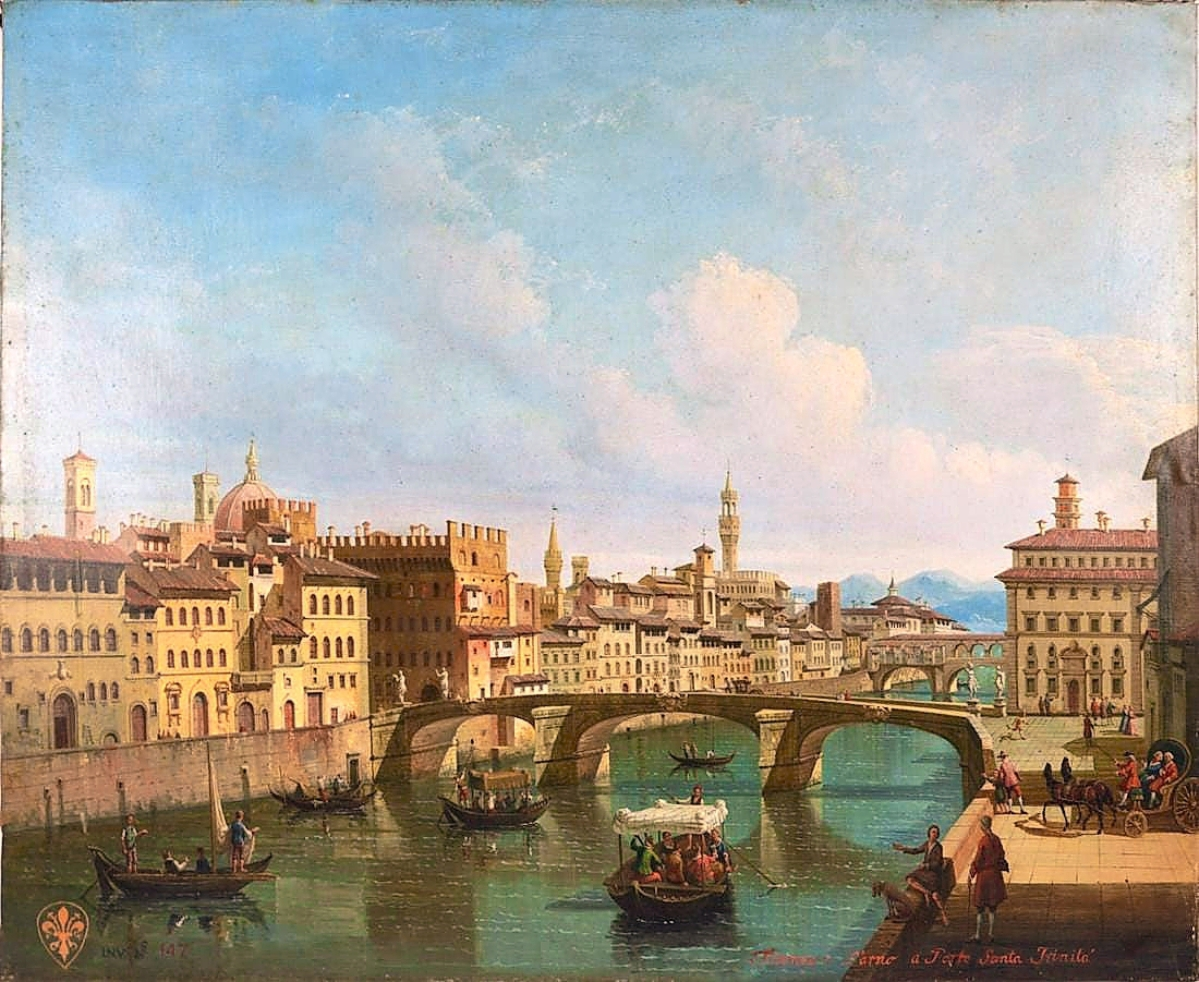 A painting attributed to Italian artist Giuseppe Zocchi (1711-1767) of the Arno River bridge, Santa Trinita, in Florence, trounced its $2,500 high expectation to leave the gallery at $22,500. The oil on canvas vedute, depicting the river's boat commerce, the historic span and neighboring buildings, was done circa 1742 and measured 30¼ by 37-  inches.