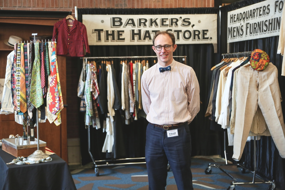 From start to finish, Adam Irish organized his first in-person show in just five weeks. He stands here relieved and exhausted at the opening of Threadbare, Brimfield's newest vintage clothing and antique textiles show.   —Threadbare