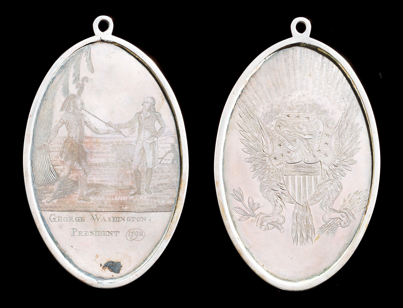 George Washington Indian Peace Medal (small size), 1792, Philadelphia, Penn., silver and silver solder, museum purchase, Lasser Numismatics Fund, 2021-6. Photos courtesy The Colonial Williamsburg Foundation.
