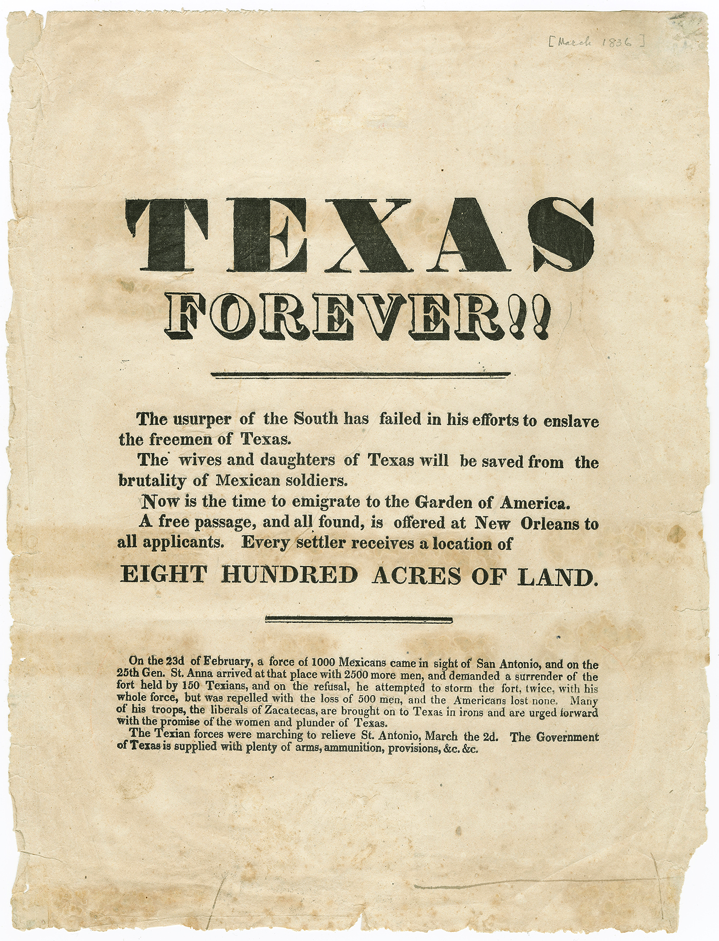 A flyer used to recruit white men from the South to join the Texas Revolt. Broadside Collection,The Dolph Briscoe Center for American History, The University of Texas at Austin.