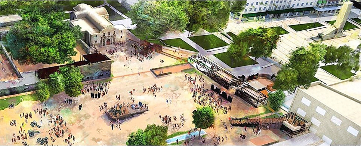 The Alamo posted a new rendering on its Facebook page, showing what part of the plaza might look like in 2024, if the project moves forward as planned. The illustration includes an interpretation of a second story of the Long Barrack as it existed in 1836; a spatial representation of the Low Barrack and Main Gate along the south wall of the mission-fort; and a ramp and platform as it appeared in 1836, at the southwest corner of the compound, where the Alamo garrison's largest cannon was fired during the siege and battle.