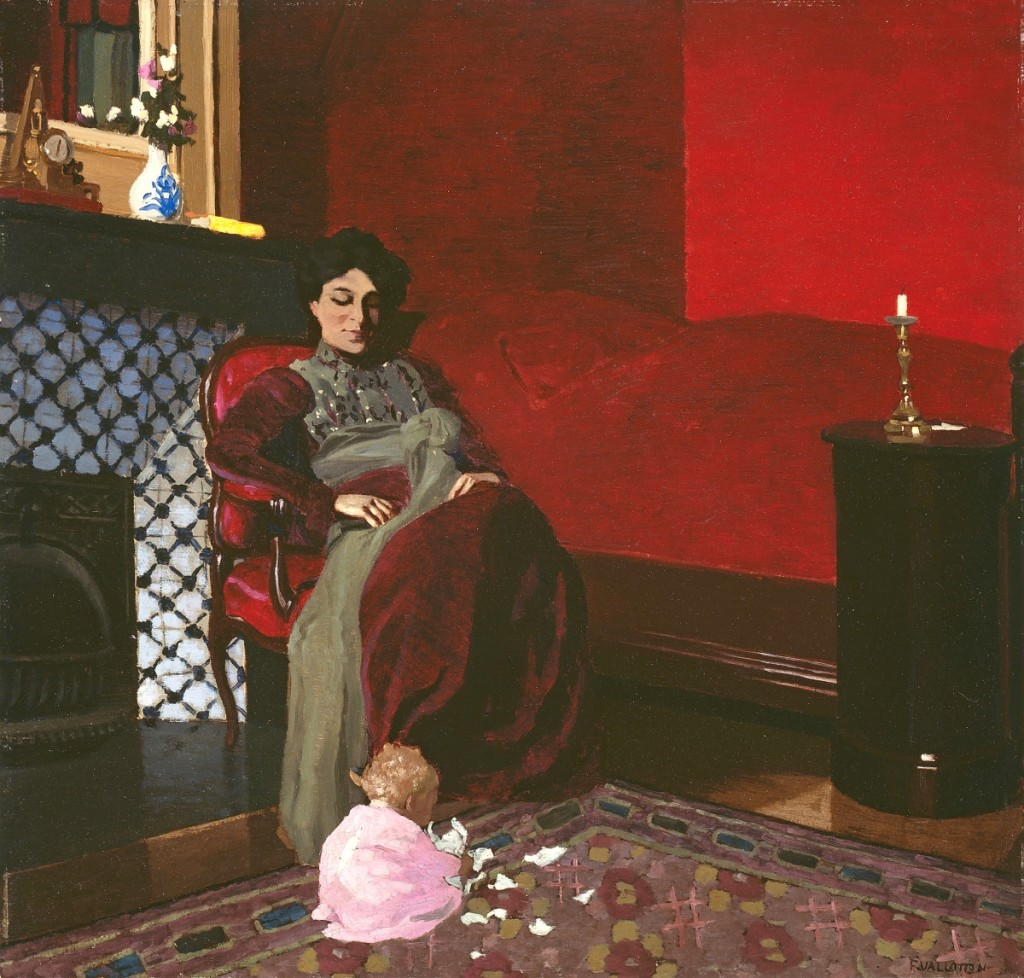 """""""The Red Room, Étretat,"""" by Félix Vallotton (Swiss, 1865-1925), 1899. Oil on artist's board. The Art Institute of Chicago, Bequest of Mrs Clive Runnells."""
