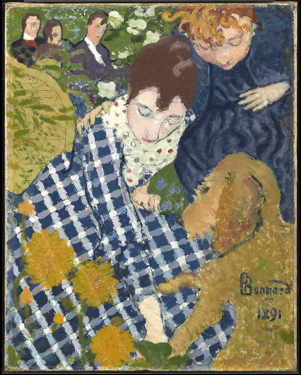 """""""Women with a Dog"""" by Pierre Bonnard (French, 1867-1947), 1891. Oil and ink on canvas. The Clark Art Institute, acquired by the Clark, 1979. Image courtesy of the Clark Art Institute. ©2021 Artists Rights Society (ARS), New York / ADAGP, Paris."""