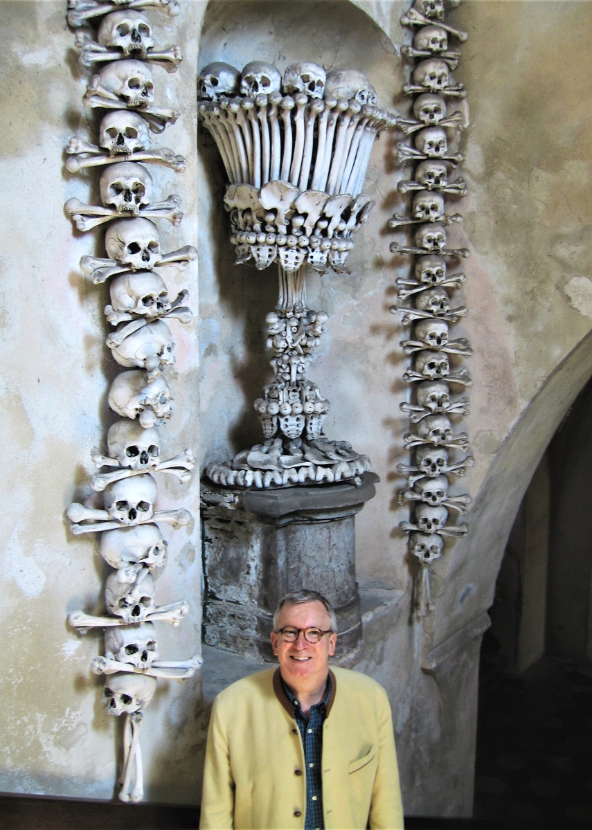"""""""A favorite place,"""" Savage says of the Sedlec Ossuary, a small chapel in the Czech Republic. """"It makes some people quite uneasy, but I can't think of anything lovelier than spending eternity as a bone chandelier, obelisk or trophy arrangement."""""""
