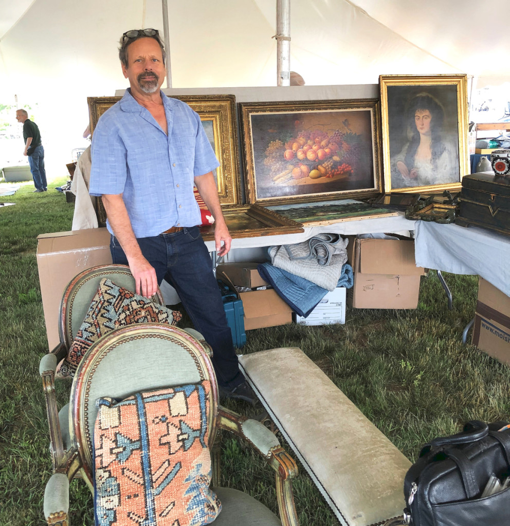Mario Pollo, Bearsville, N.Y., had an assortment of paintings, outdoor items and even a silver-trimmed Western parade saddle, which was priced $750.