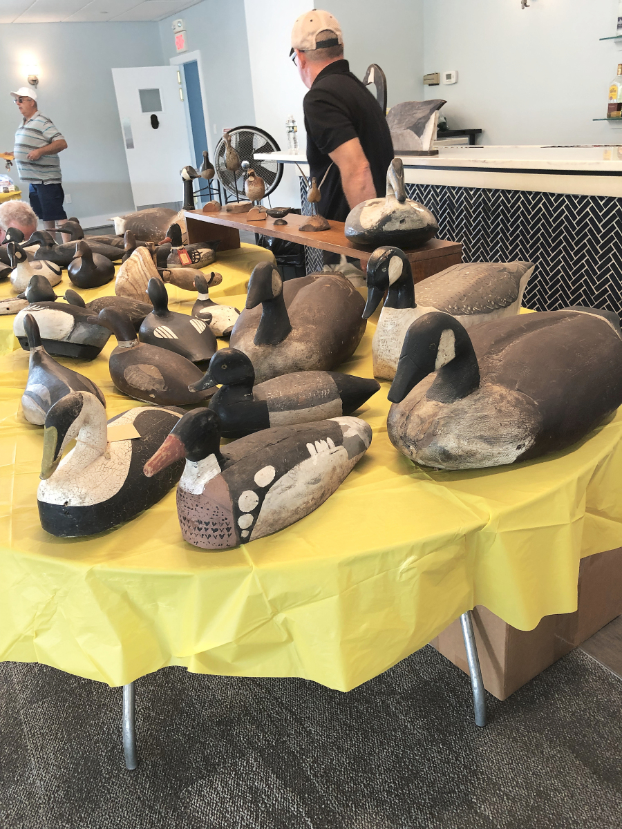 Canada geese were hunted in only one place in Maine, Merrymeeting Bay, near Bath. Byron Bruffee, Medomak Gallery, Warren, Maine, had three Canada goose decoys, one with carved wing tips. They had been made by James Scribner, and Bruffee priced them at $1,500 each.