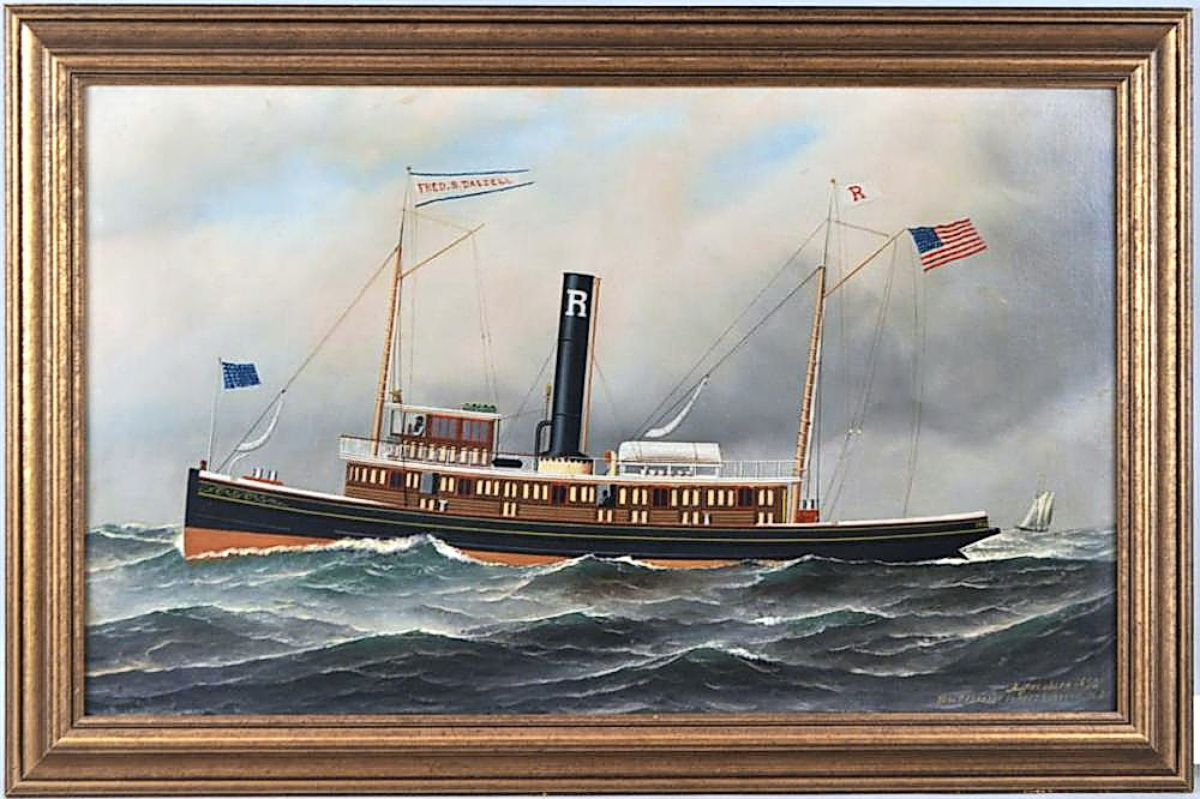 The top lot in the sale was Antonio Jacobsen's painting of the tugboat Fred B. Dalzell, which was painted for owner Fred B. Dalzell in 1892. Eight phone bidders, as well as online competition, took the lot from a $3/4,000 estimate to $30,500, paid by Rehs Galleries.