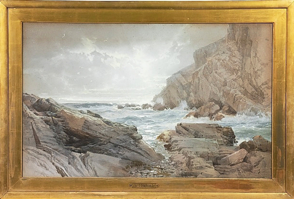 """William Trost Richards topped the three days of sales as his """"Rocky Coastline"""" sold for $36,270 against an $8/12,000 estimate."""